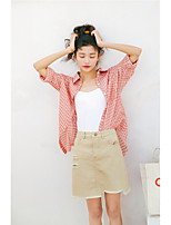 Women's Daily Cute Shirt,Check Shirt Collar Long Sleeves Cotton
