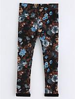 Pantalons Fille Fleur Coton Automne