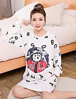 Costumes Vêtement de nuit Femme,Col Arrondi Lettre et chiffre-Moyen Coton Blanc