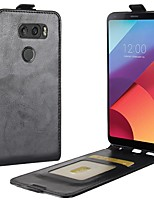 Недорогие -Кейс для Назначение LG / LG K10 V30 / K10 (2017) Бумажник для карт / Флип Чехол Однотонный Твердый Кожа PU для LG V30 / LG Q6 / LG K10 (2017)