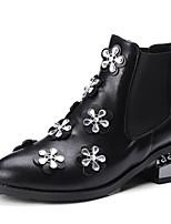 Недорогие -Для женщин Обувь Полиуретан Зима Осень Удобная обувь Ботинки На толстом каблуке Заостренный носок Стразы Аппликация Назначение Черный