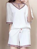 Tee-Shirt Pantalon Costumes Femme,Couleur Pleine Sortie Décontracté / Quotidien Chic de Rue Eté Manches Courtes Col en V Coton