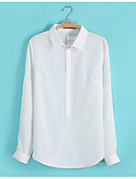 cheap -Women's Daily Vintage Shirt,Solid Shirt Collar Long Sleeves Polyester