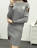 Women's Daily Casual Sweater Dress Suits,Solid