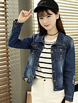 Women's Daily Going out Simple Casual Fall Denim Jacket,Solid Shirt Collar Long Sleeves Regular Cotton
