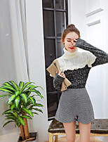 Women's Daily Vintage Fall Sweater Skirt Suits,Color Block High Neck Long Sleeves Others