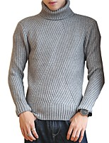Men's Going out Casual/Daily Regular Pullover,Solid Round Neck Long Sleeves Rayon Autumn Winter Medium Inelastic