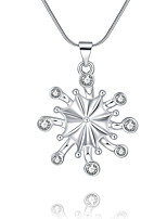 cheap -Women's Snowflake Simple Basic Pendant Necklace Cubic Zirconia Copper Pendant Necklace , Christmas Daily