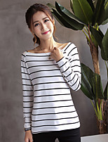 cheap -Women's Going out Sexy Blouse,Solid Striped Bateau Long Sleeves Cotton