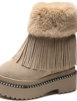 cheap -Women's Shoes Fur Fall Winter Snow Boots Fashion Boots Bootie Boots Mid-Calf Boots For Casual Party & Evening Khaki Beige Black