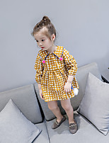 Girl's Round Dots Dress Casual Cute Yellow Blue
