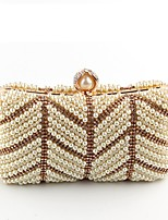 Women Bags All Season Polyester Evening Bag Pearl Detailing for Wedding Event/Party Gold