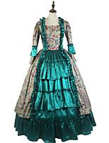 Rétro Rococo Victorien Costume Féminin Adulte Costume de Soirée Bal Masqué Vert Vintage Cosplay Tissu Matelassé Manches Longues