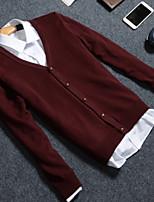 Men's Daily Short Cardigan,Solid V Neck Long Sleeves Wool Winter Fall/Autumn Medium Micro-elastic