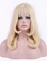 Women Synthetic Wig Capless Medium Length Curly Blonde Natural Hairline Layered Haircut With Bangs Party Wig Cosplay Wig Natural Wigs