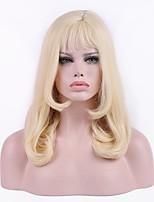 Donna Parrucche sintetiche Medio Riccio Biondo Attaccatura dei capelli naturale Taglio scalato Con frangia Parrucca per festa Parrucca