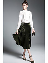 ZIYI Women's Party Going out Casual Spring/Fall Set Skirt Suits,Solid High Neck Long Sleeves Pleated Silk Inelastic