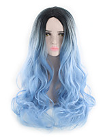 cheap -Women Synthetic Wig Capless Long Natural Wave Body Wave Grey Black/Rose Red Black/Blue Natural Hairline Party Wig Celebrity Wig Natural