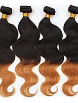 economico -4 pezzi Nero / Medium Auburn Ondulato naturale Peruviano Tessiture capelli umani Extensions per capelli