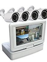 4-канальная система безопасности камеры 7-дюймовые ЖК-дисплеи с разрешением 1080n ahd dvr 1.3mp с ночным видением