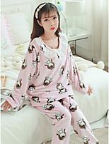 cheap -Women's Babydoll & Slips Pajamas,Print Floral Polyester Blushing Pink