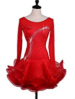 Shall We Latin Dance Dresses Women's Performance Spandex Crystals/Rhinestones Cascading Ruffles Long Sleeve Dress