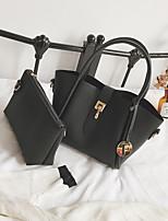 cheap -Women Bags PU Bag Set Buttons for Casual All Season Red Blushing Pink Dark Gray Light Gray Brown