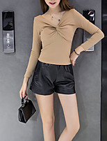 Women's Daily Daily Wear Casual Sexy Winter Fall T-Shirt Pant Suits,Solid V Neck Long Sleeve Polyester Micro-elastic