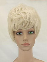 Women Synthetic Wig Capless Short Curly Beige Blonde Layered Haircut Celebrity Wig Natural Wigs Costume Wig
