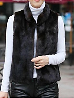 cheap -Women's Daily Going out Street chic Winter Fall Vest,Solid Stand Sleeveless Regular Faux Fur