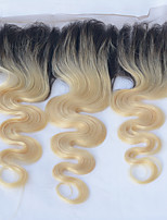 cheap -Fashion Fast Shipping 16 Inches Body Wave 1B/613 Ombre Color 13*4 Lace Frontal Closure 100% Brazilian Human Hair Premier Quality Hair for Women