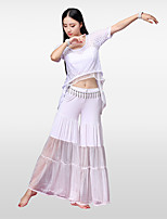 Belly Dance Outfits Women's Training Rayon Modal Pleated Split Joint Short Sleeve Dropped Skirts Tops