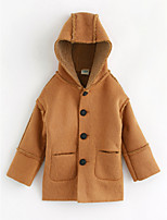 cheap -Girls' Solid Jacket & Coat,Cotton Long Sleeves Camel