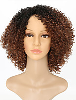 Women Synthetic Wig Capless Medium Length Kinky Curly Black/Brown Ombre Hair Natural Wigs Costume Wig