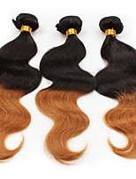 economico -3 pezzi Nero / Medium Auburn Ondulato naturale Peruviano Tessiture capelli umani Extensions per capelli