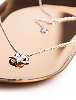 Women's Sticky Rhinestones Pendant Necklaces Cubic Zirconia Star Cross Silver Zircon Sweet Elegant Jewelry For Casual Work