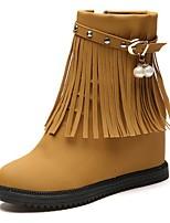 abordables -Mujer Zapatos PU Invierno Botas de Moda Botas Dedo redondo Mitad de Gemelo Perla Para Casual Negro Marrón