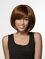 Women Human Hair Capless Wigs Medium Auburn Black Medium Length Natural Wave Side Part