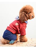 Hund Overall Hundekleidung Warm Lässig/Alltäglich Solide Grau Rot Kostüm Für Haustiere