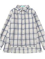 Women's Daily Active Shirt,Check Shirt Collar Long Sleeves Cotton