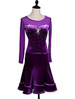 preiswerte -Sollen wir Ballroom Dance Kleider Frauen Leistung samt Chiffon Kristalle / Strass Langarm Kleid