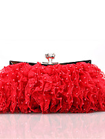cheap -Women Bags Satin Evening Bag Lace Pearl Detailing for Wedding Event/Party All Season Champagne Red Blushing Pink