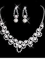 Damen Tropfen-Ohrringe Halskette Künstliche Perle Strass Für Hochzeit Party Hochzeitsgeschenke