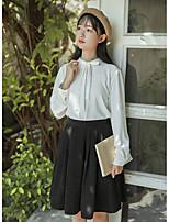 abordables -Mujer Bonito Casual/Diario Camisa,Escote Chino Un Color Manga Larga Algodón