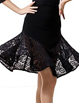 Ballroom Dance Bottoms Women's Performance Ice Silk Lace High Skirts