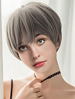 cheap -Women Synthetic Wigs Fluffy Elegant Mixed  Color  Oblique Fringe Pixie Cut