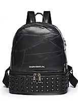 cheap -Women Bags PU Backpack Beading Zipper for Casual Outdoor All Season Black