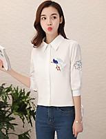 Недорогие -Для женщин На каждый день Рубашка Рубашечный воротник,Уличный стиль Вышивка Длинный рукав,Хлопок