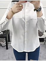Недорогие -Для женщин На каждый день Рубашка Рубашечный воротник,Очаровательный Однотонный Длинный рукав,Хлопок