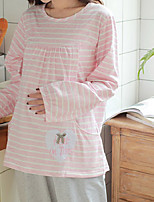 Costumes Pyjamas Femme,Rayures Coton Polyester Rose Claire